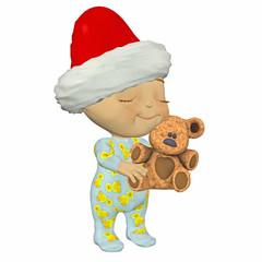 Baby Cartoon with Teddy Bear