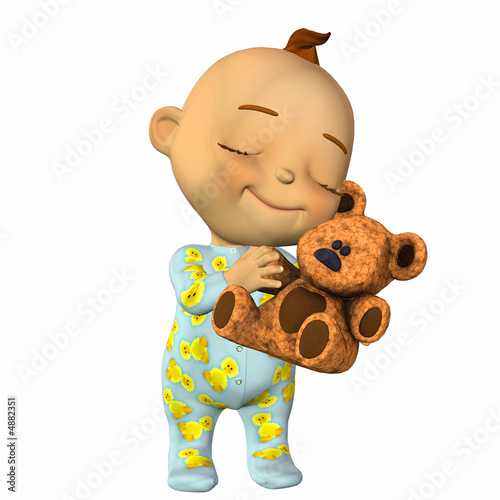 Baby Cartoon with Teddy Bear