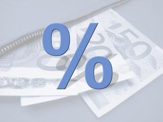 Prozent auf Geldscheinen