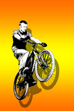 MTB bike jump on vivid orange background poster