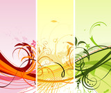Flower background with waves, element for design, vector