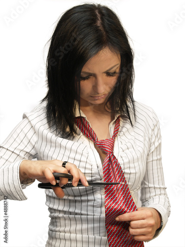 Woman cutting her tie