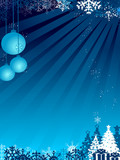christmas ball with flake in blue background