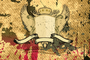 Grunge background with shield and banner