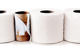 Toilet paper rolls in a row
