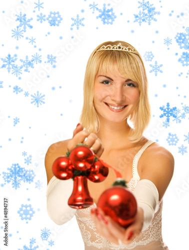 Beautiful princess with Christmas decoration