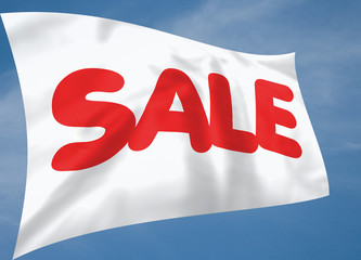 White silk sale flag with blue sky background