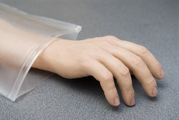 Hand from plastic