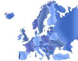 Carte Europe Camaieu Bleu poster