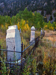 Old tombstones in Autumn color in Colorado