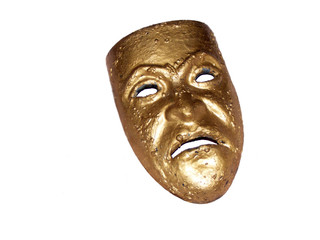 Golden mask on white background
