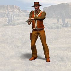 Cowboy #09, wild west series, with clipping path
