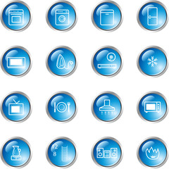 blue drop household goods icons