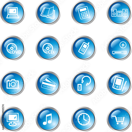 blue drop home electronics icons