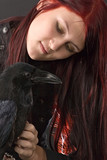 girl with her raven poster