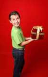 Smiling child carrying gifts poster