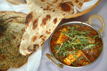 Paneer, Rotti & Zaatar Served Together