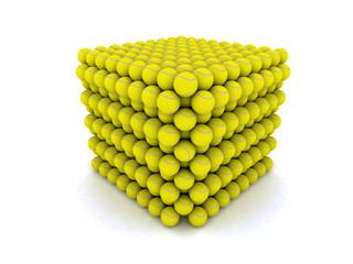 un metro cubo di palle da tennis 3D