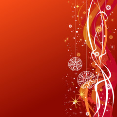 Christmas balls with snowflakes, stars and waves-background