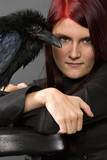 beautiful witch with raven poster