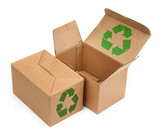 cardboard boxes with recycle symbol poster