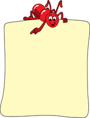 Red ant showing where to post you message