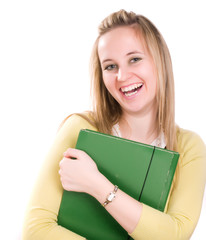 smilling woman with folder