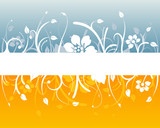 Blue and orange floral design with blank white space