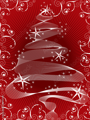 sparkling christmas tree on red
