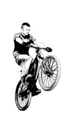 MTB bike wheelie on a white background