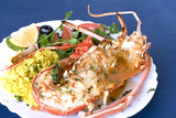 Spine Lobster drill with shellfish sauce, rice and salad poster