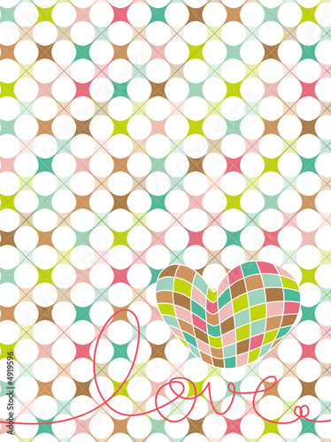 retro pastel mosaic love heart