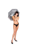 The girl and a silvery umbrella poster