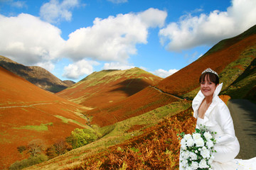 bride in the lake district