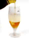 Glass beer with foam on white background poster