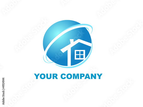 logo of your company, house in globe