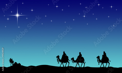 Leinwandbild Motiv Three wisemans and the star of Bethlehem