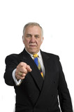 older businessman pointing poster