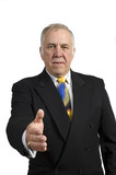 older businessman holding hand out to shake hands poster