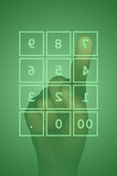 Touch screen numeric keypad and hand poster