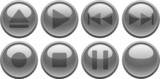 Grey media buttons. [Vector] poster