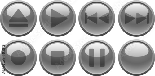 poster of Grey media buttons. [Vector]