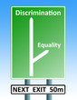 discrimination eqaulity teamwork roadsign
