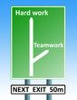 hard work teamwork roadsign