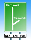 hard work teamwork roadsign poster