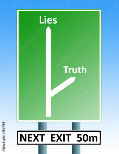 truth lies roadsign