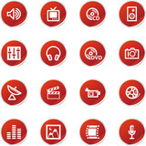 red sticker media icons poster