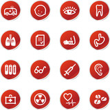 red sticker medicine icons poster