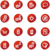 red sticker mobile phone icons poster