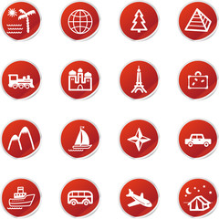 red sticker travel icons